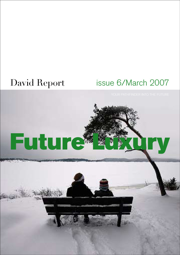 Future luxury trend report front page with two persons in the snow