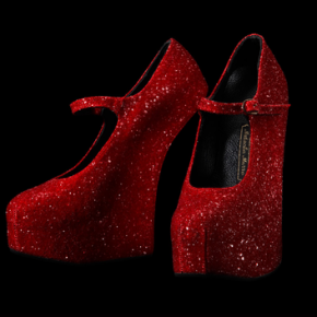 Fabulous Mary Jane heal-less liquid red glitter shoes