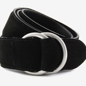 Suede belt with double ring buckle