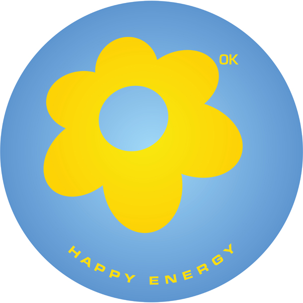 The logo in blue and yellow for sustainable happy energy