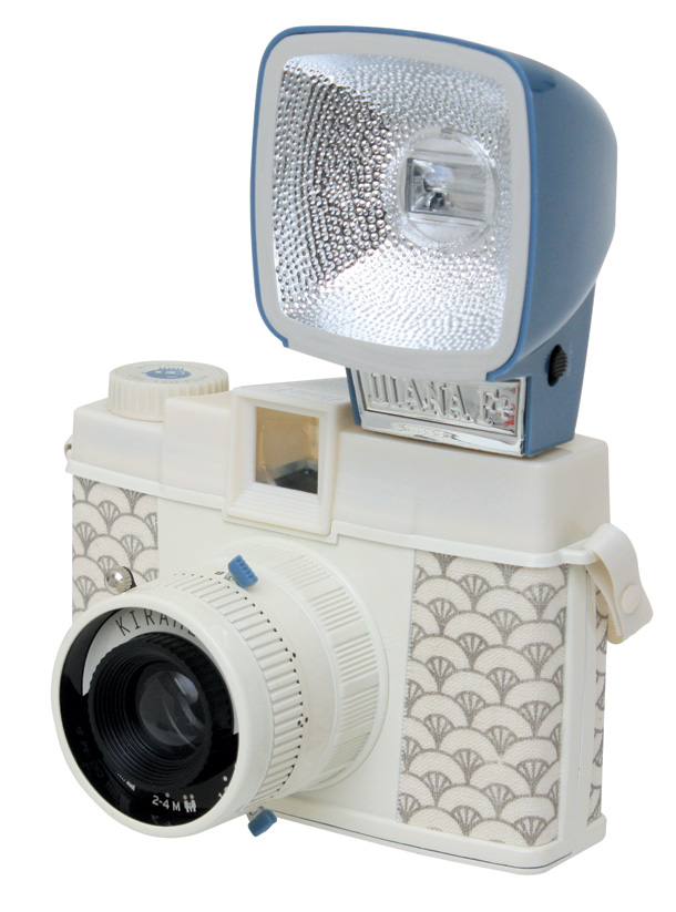 Close up of lomography camera with flash