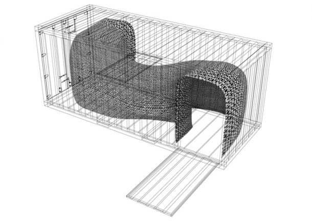 A sketch of the tunnel with space, light and sound