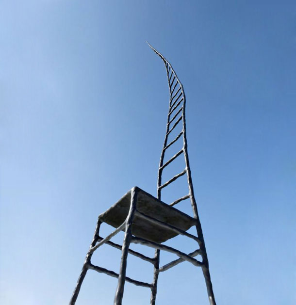 The chair in honour of Liu Xiaobo against the blue sky