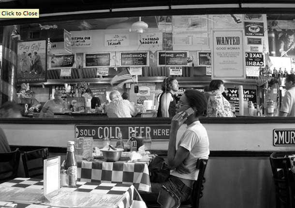 People eating lunch at a New York diner.