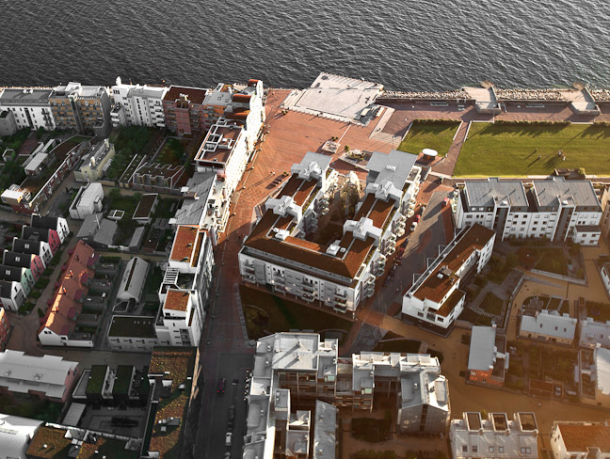 Western harbour from above with green roofs.