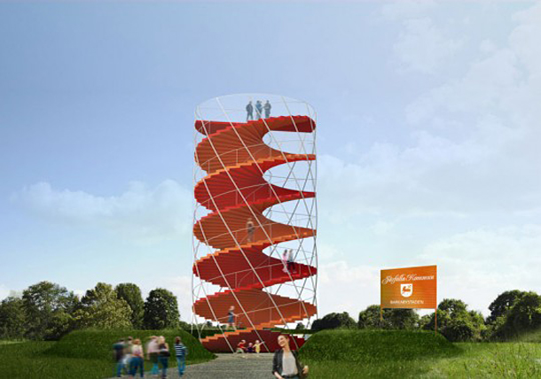 A red observation tower stands out as a landmark