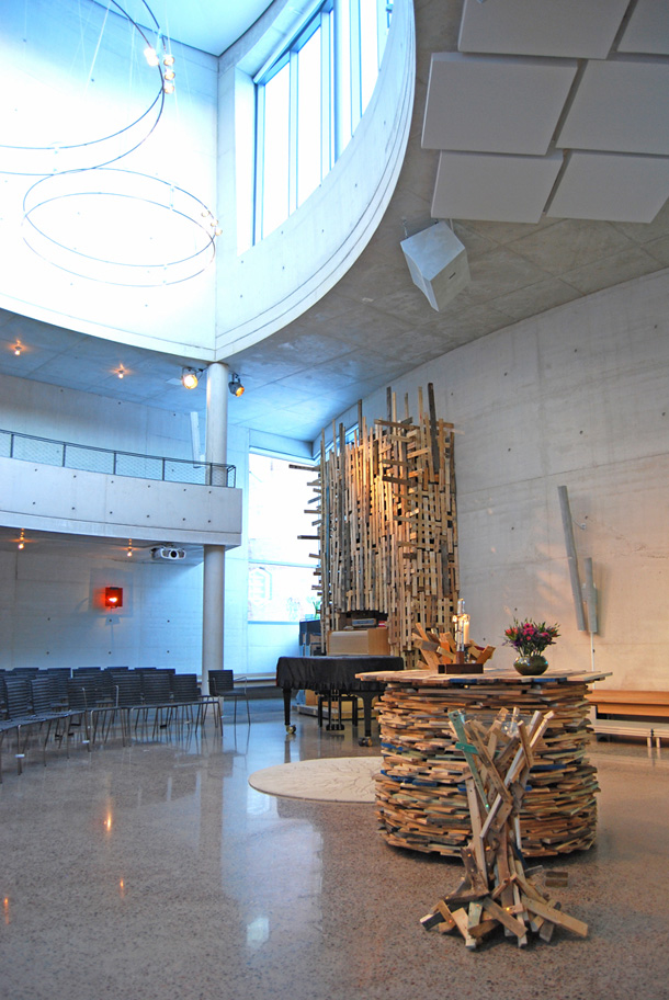 The interior of Tureberg church with recycled materials