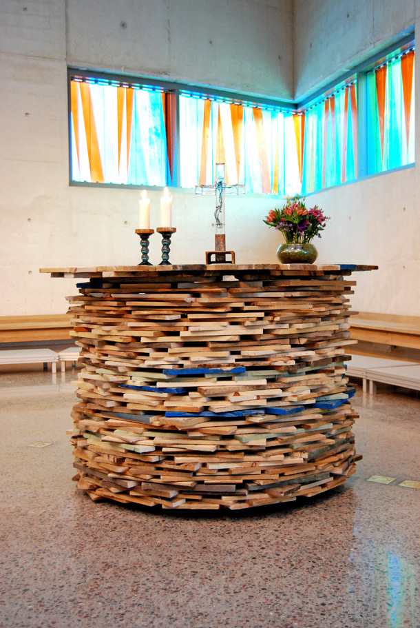 The altar made of scrap wood