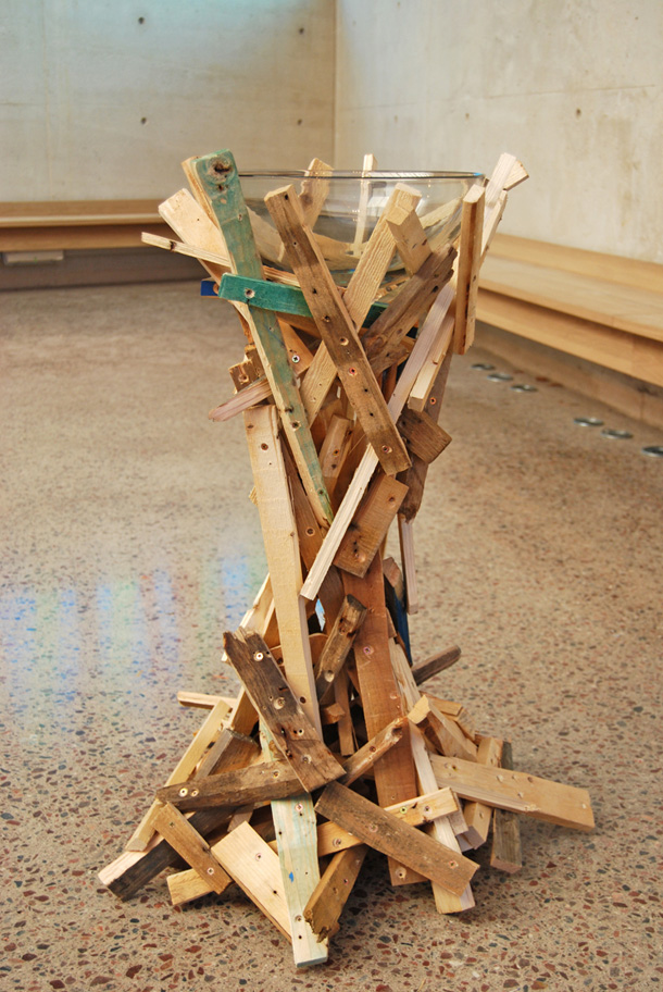 The baptismal font made of recycled material