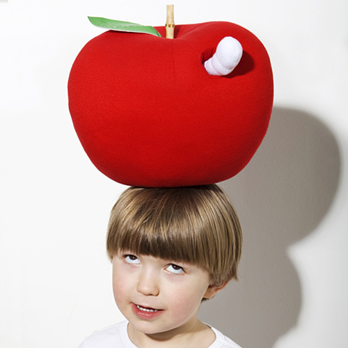 A red big soft toy apple