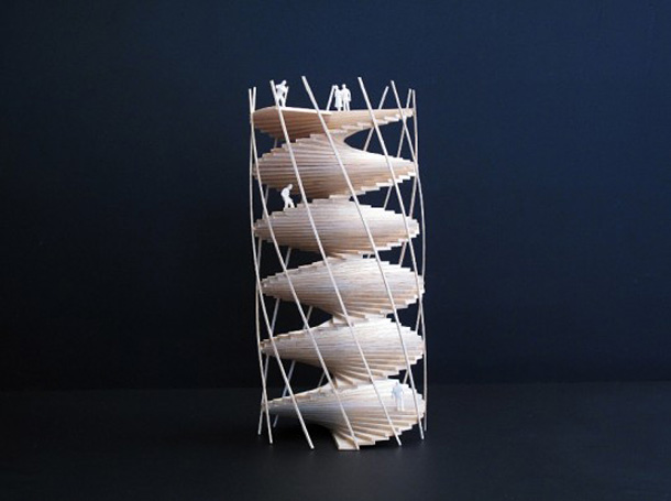 A model of the tower made by architects Tham and Videgård