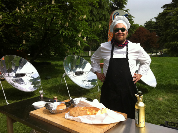Chef Antto Melasniemi in front of the solar kitchen