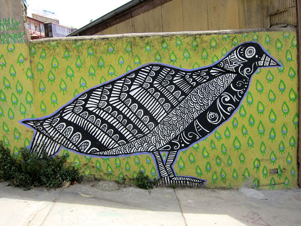 A street art black bird in Valparaiso