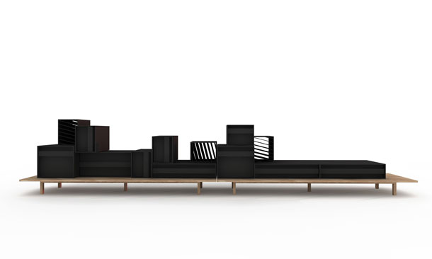 A black version of the sideboard by Alain Gilles