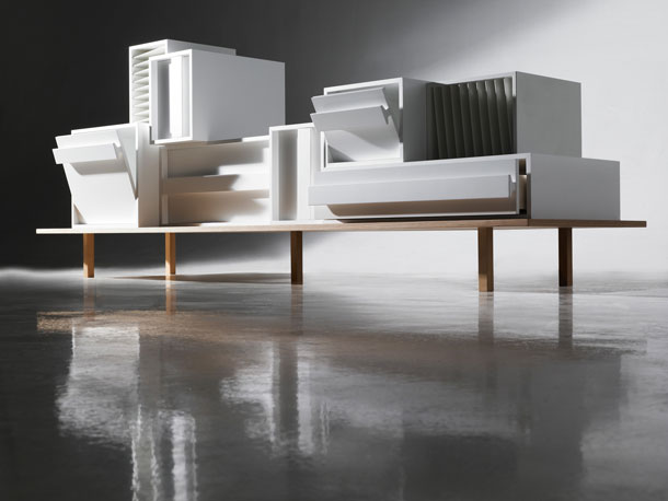 A container sideboard by Alain Gilles seen from the side