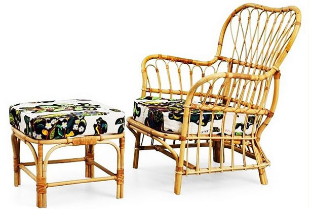 Easy chair and stool in rattan with textile by Josef Frank