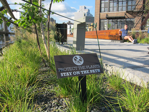 The Highline protect the plants sign