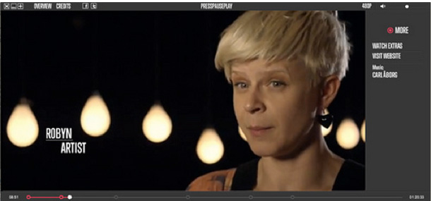 Artist Robyn in the film PressPausPlay