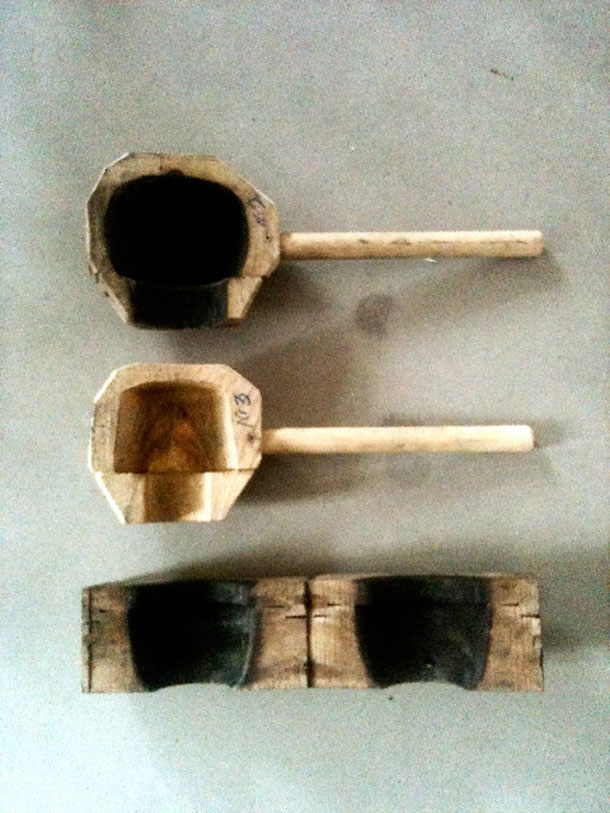 Wooden molds for making glass