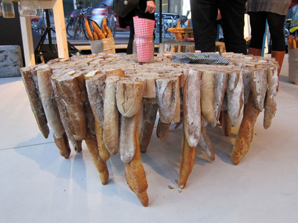 A table made out of bread