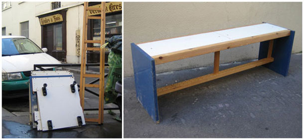 A bench made of old scrap wood