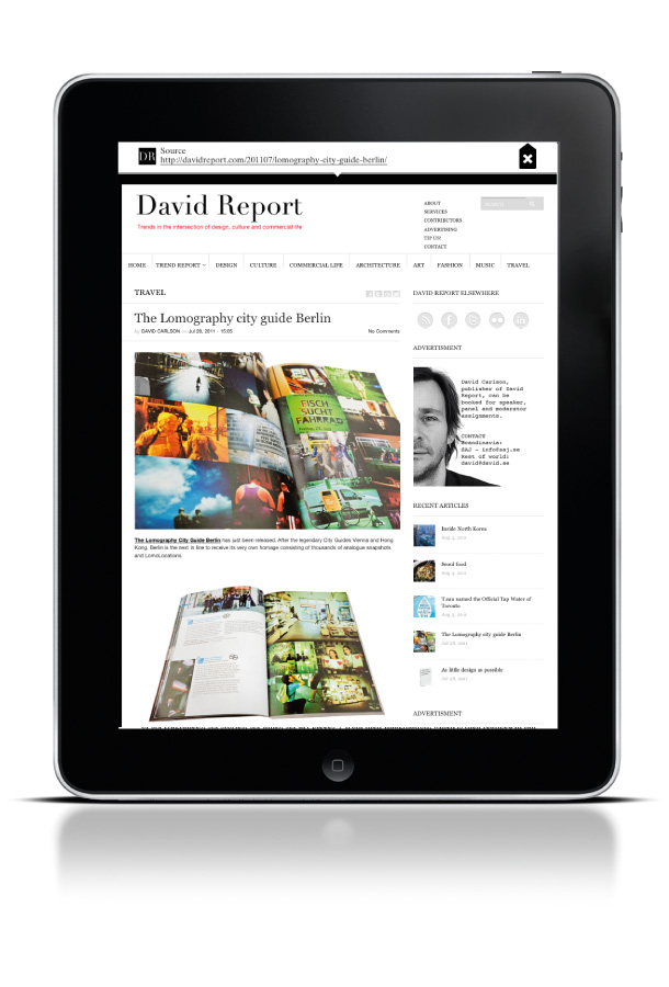 David Report page in the app from Mini Magazine