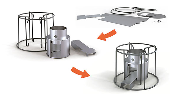 Drawing of the flatpack EzyStove
