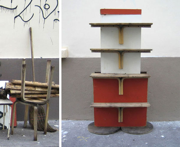 Street design made of old stools