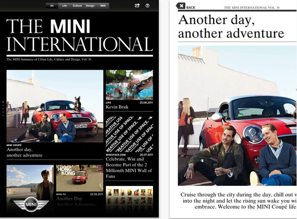 Frontside of the Mini International magazine as app for iPad