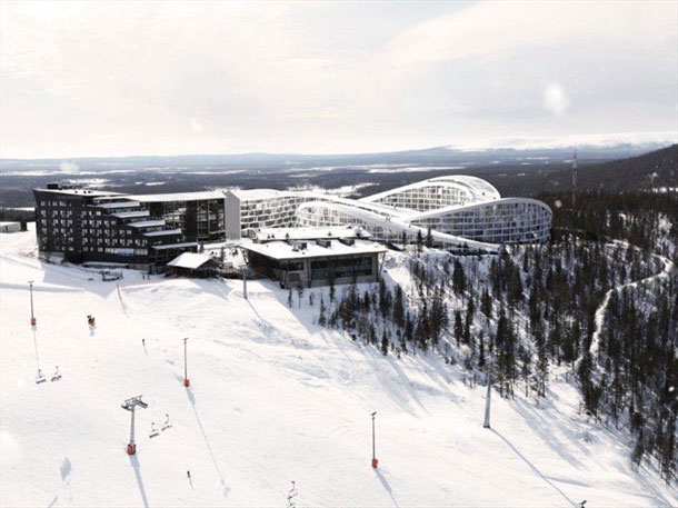 The skiresort from distance