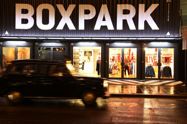 Outside Boxpark pop-up mall