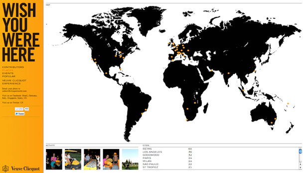 Map from Veuve Clicquot showing the Wish You Were Here project