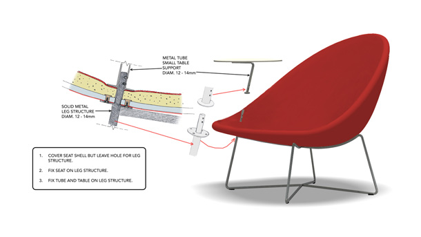 Sketch showing how the table is inserted in the easy chair