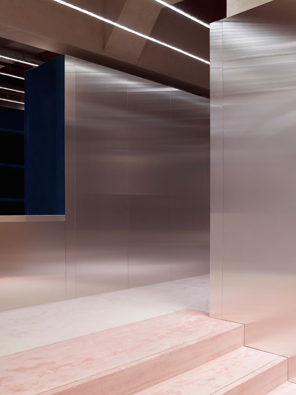 Metal walls in Acne Studio by Andreas Fornell