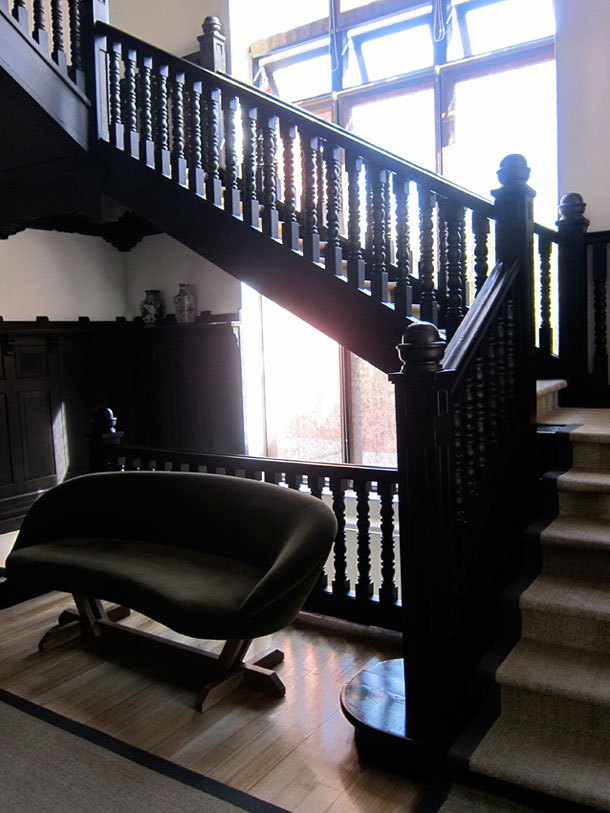 The staircase at the Aubrey hotel in Santiago
