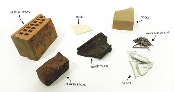 Crushed bricks and roof tiles as a pigment.