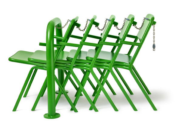 Outdoor chairs with locking mechanism