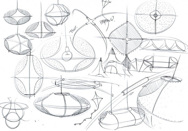 Benjamin Hubert drawing of lamp