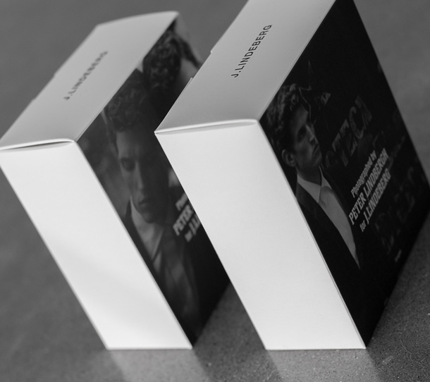 J.Lindeberg packaging with Peter Lindbergh photos