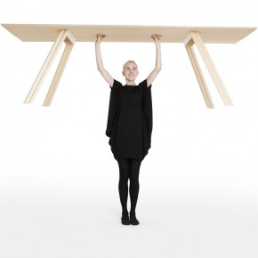 Super light timber table by Benjamin Hubert