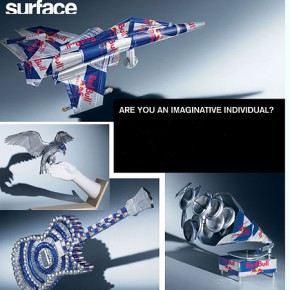 Make a piece of art out of a Red Bull can