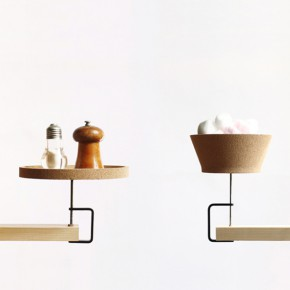 Instant shelf and bowl in cork and metal